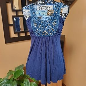 SOPRANO BLUE BEADED FIT & FLARE TANK TOP